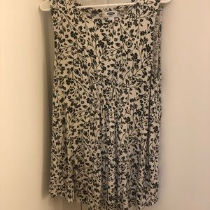 Black & White Floral Sleeveless Shirt
